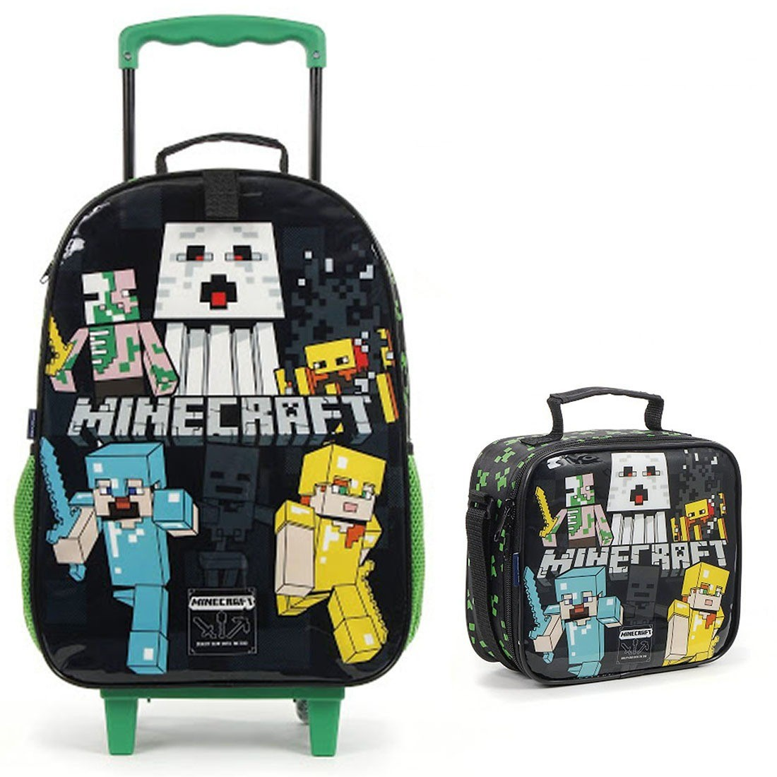 Mochila Infantil com Rodinhas Minecraft com Lancheira