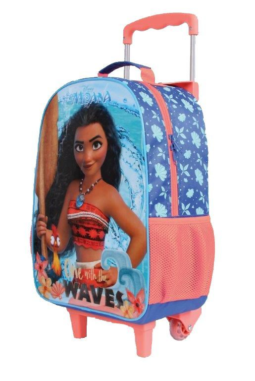Mochila com Rodinhas Moana One With The Waves com Lancheira e Estojo