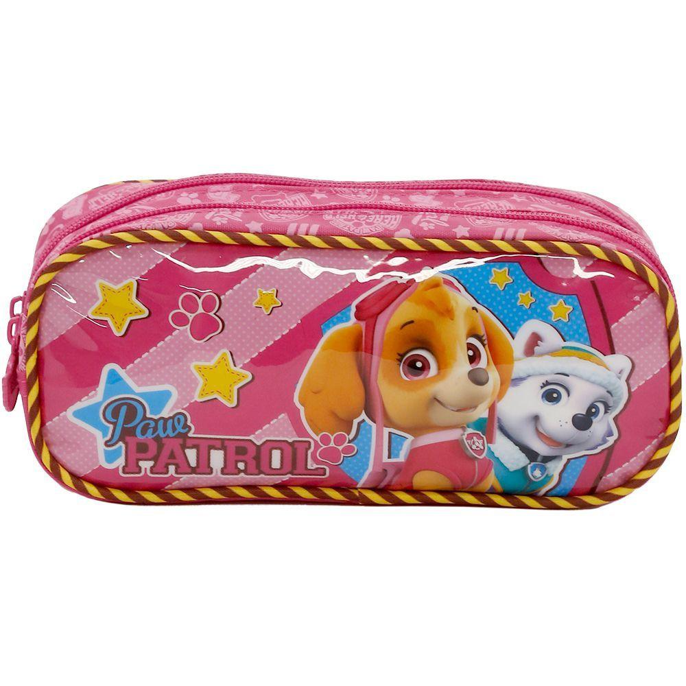 Mochila com Rodinhas Patrulha Canina Girl Team e Estojo Rosa