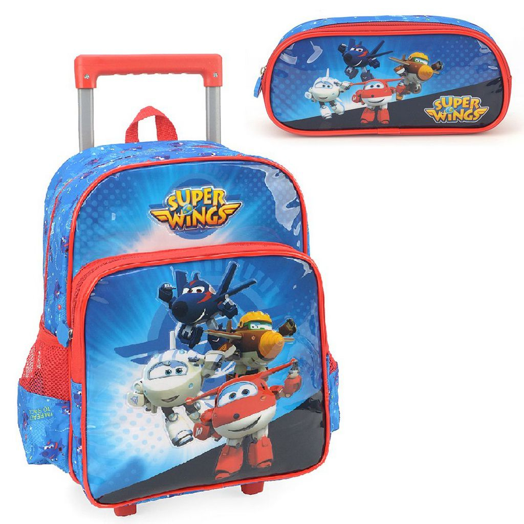 Mochila com Rodinhas Super Wings com Estojo Azul
