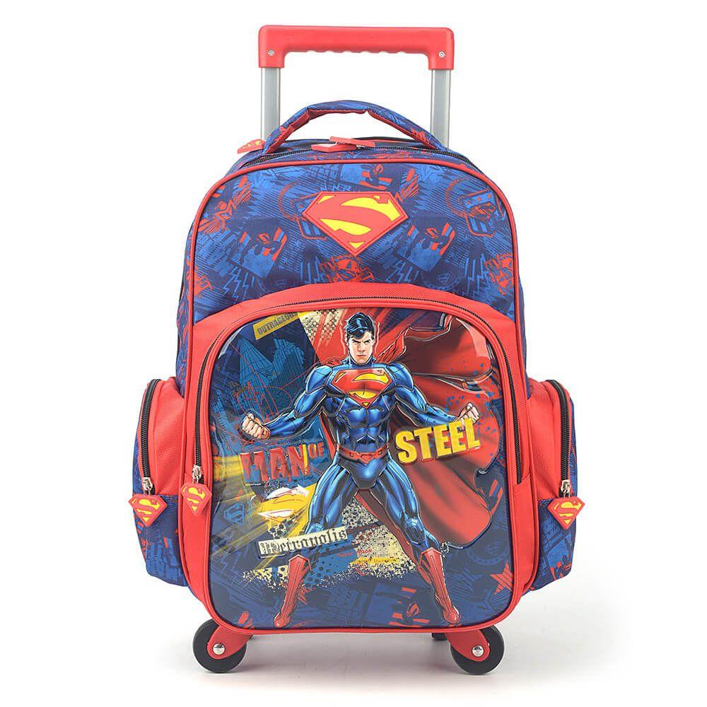 Mochila com Rodinhas Superman 360 com Lancheira e Estojo