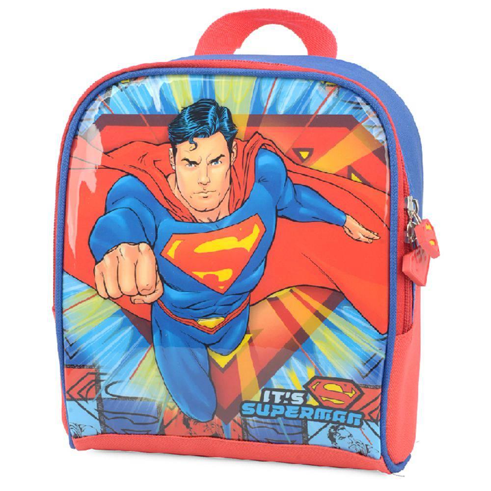 Mochila com Rodinhas Superman e Lancheira Azul