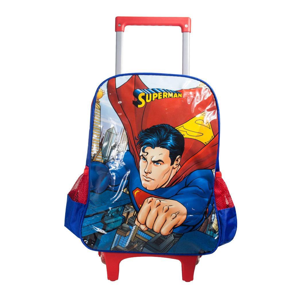 Mochila com Rodinhas Superman e Lancheira Vermelha