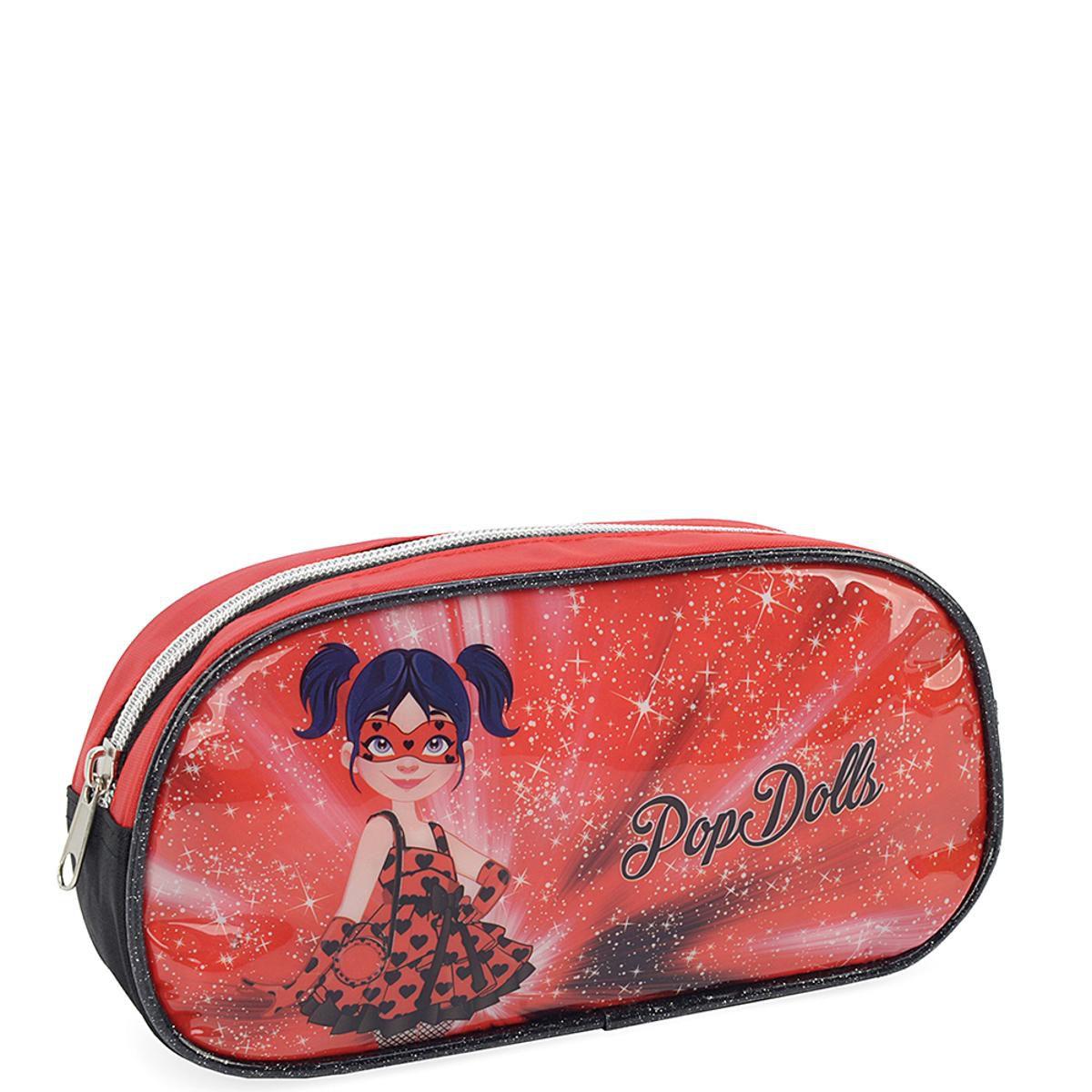 Mochila Escolar de Costas Pop Dolls com Estojo
