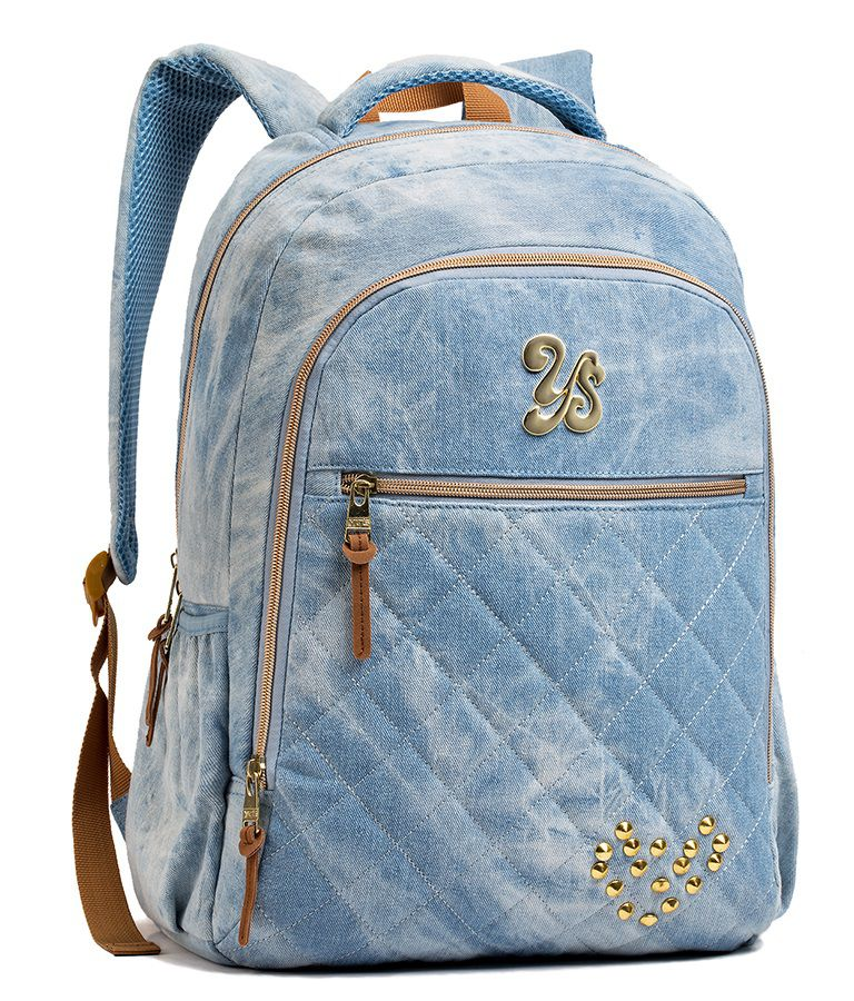 Mochila Escolar Feminina Seanite Jeans e Estojo Azul
