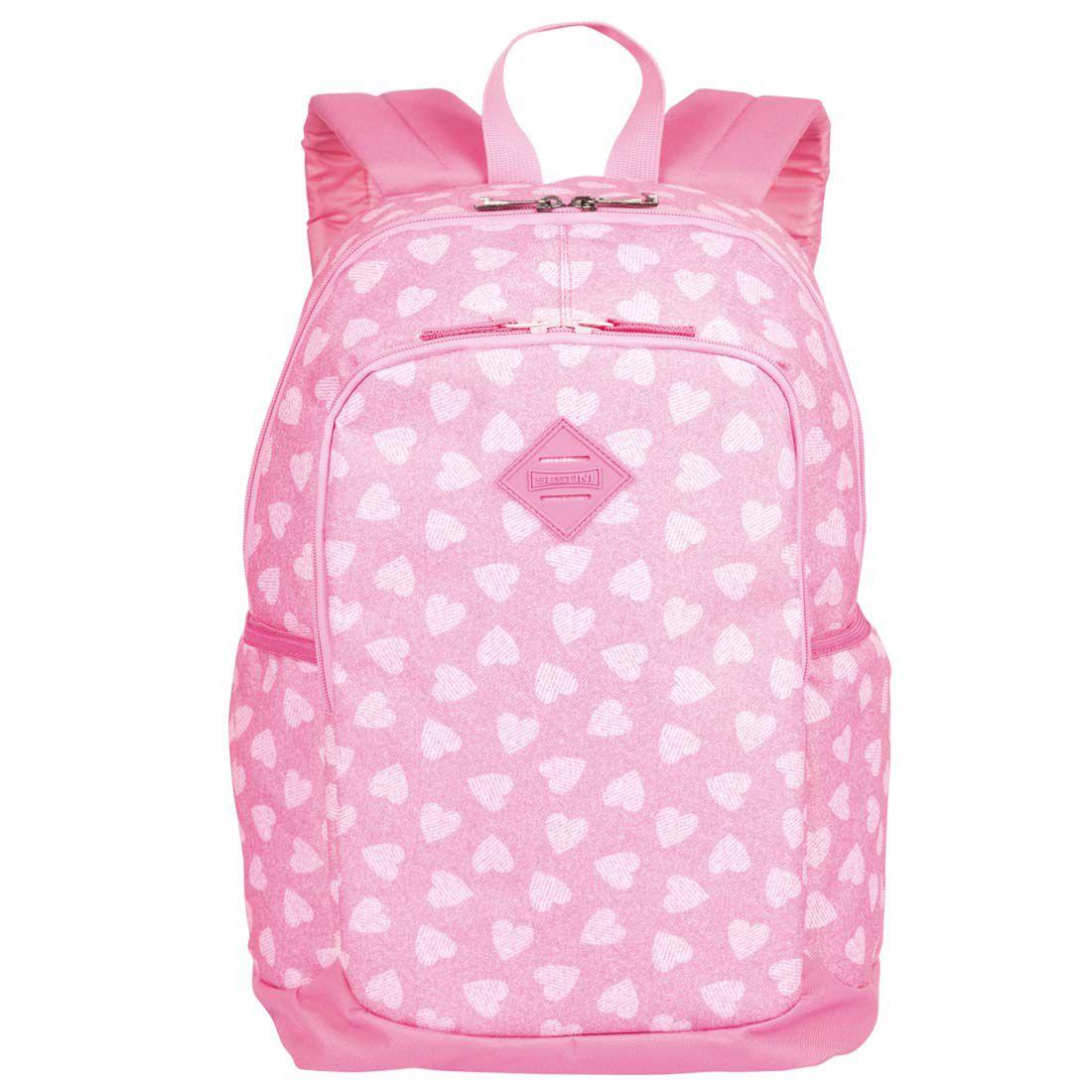 Mochila Escolar Sestini Magic Corações Rosa