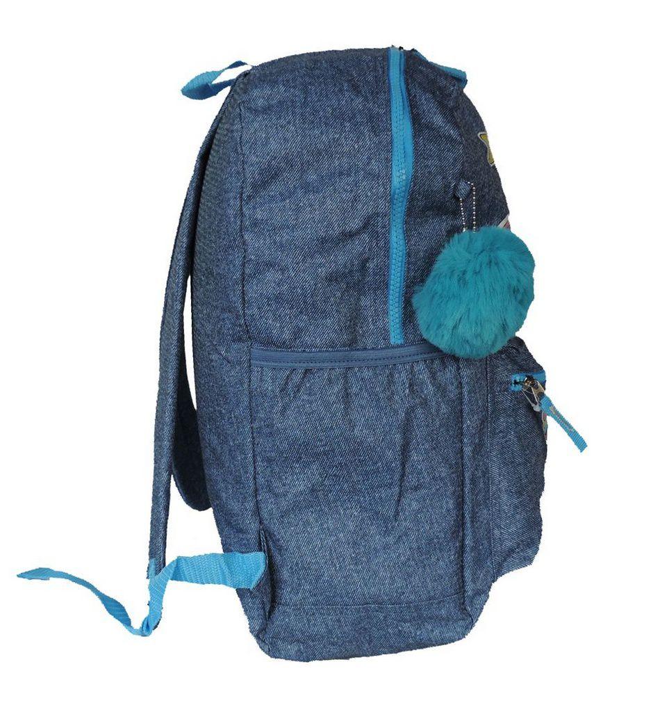 Mochila Feminina Clio Jeans Azul Unicórnio