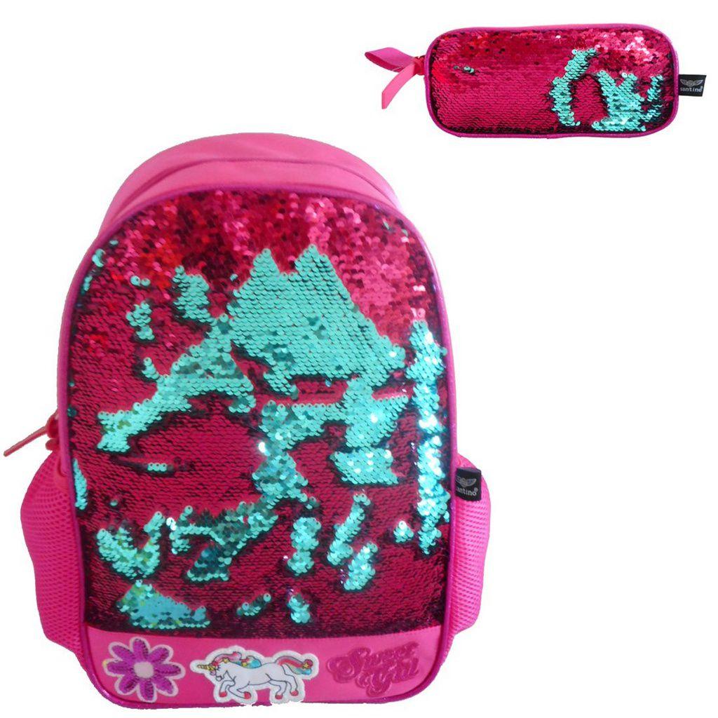 379329d85 Mochila Feminina Sweet Girl Paetês Pink e Verde com estojo - MIX DAS ...