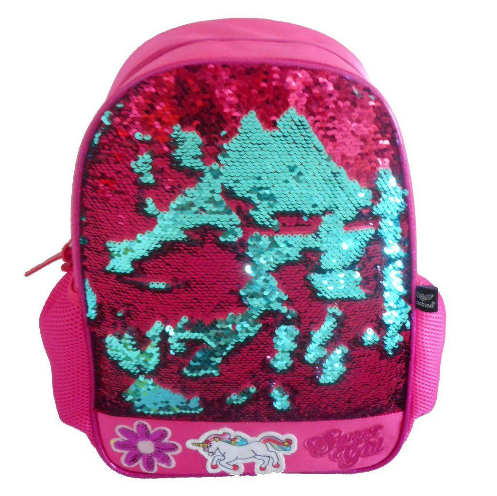 Mochila Feminina Sweet Girl Paetês Pink e Verde com estojo