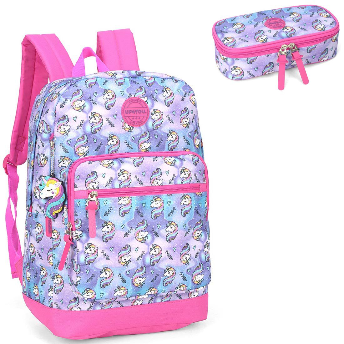 Mochila Feminina Up4you Unicórnio MS45765UP com Estojo