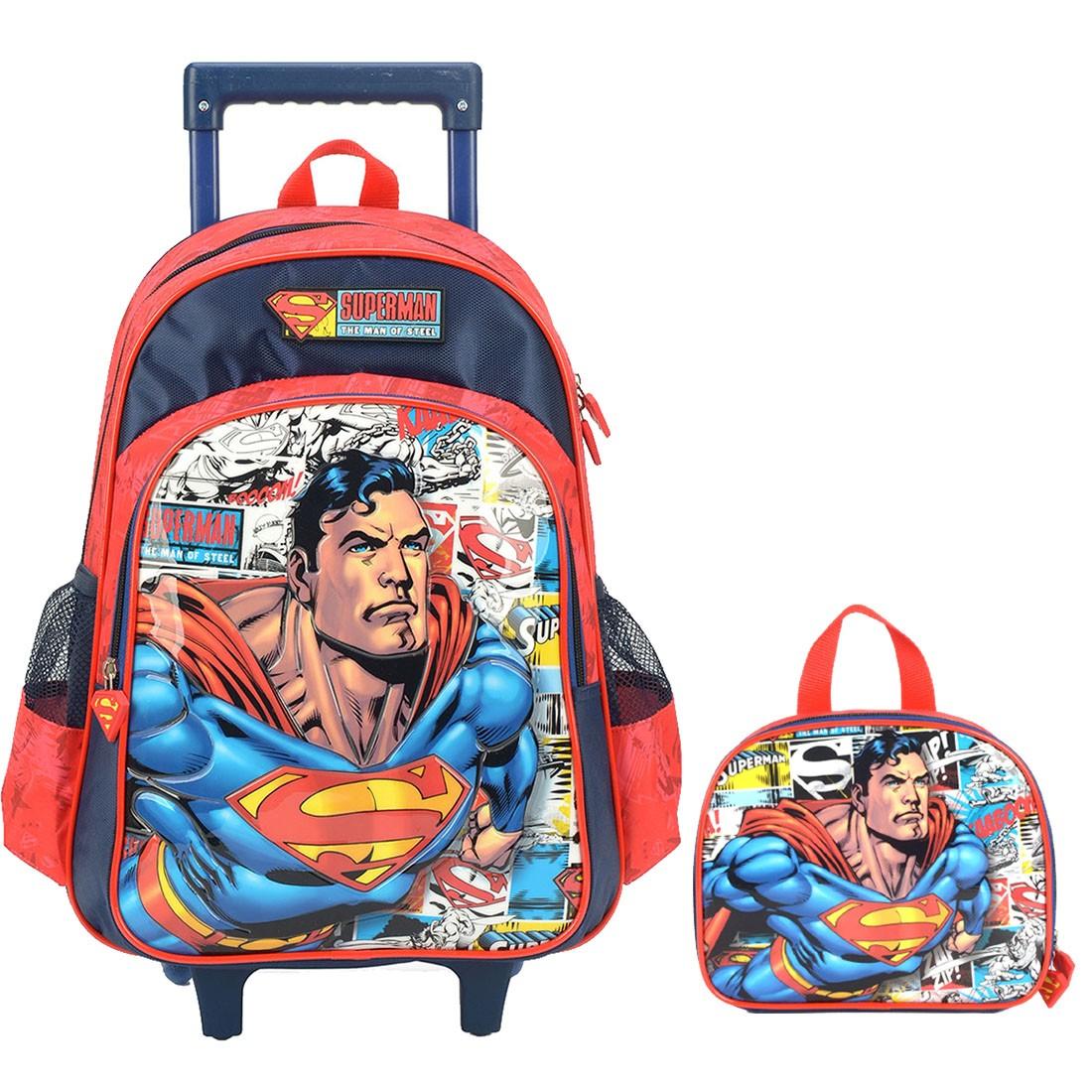 Mochila Infantil com Rodinhas e Lancheira Superman Vermelha