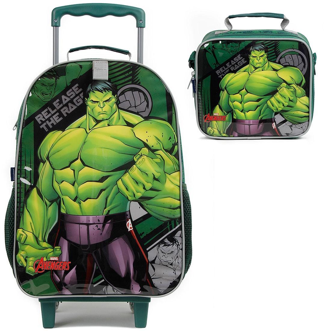 Mochila Infantil com Rodinhas Hulk com Lancheira