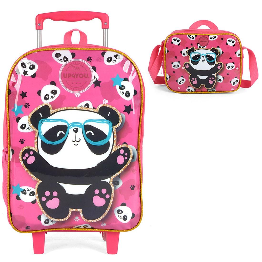 Mochila Infantil com Rodinhas Petit Up4You Panda com Lancheira