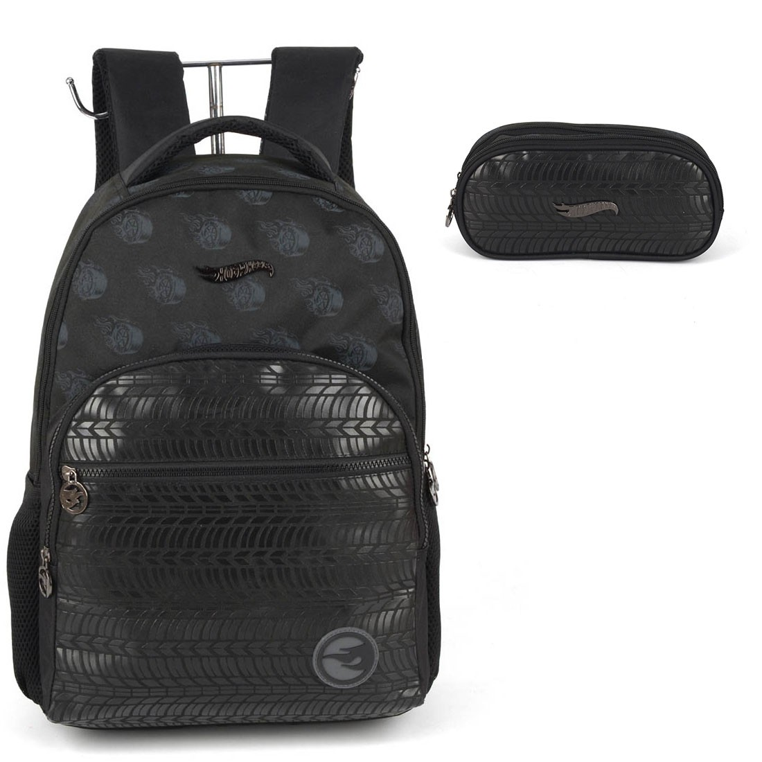 Mochila Infantil Hot Wheels com Estojo