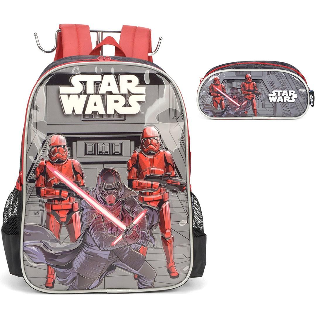 Mochila Infantil Star Wars com Estojo Cinza