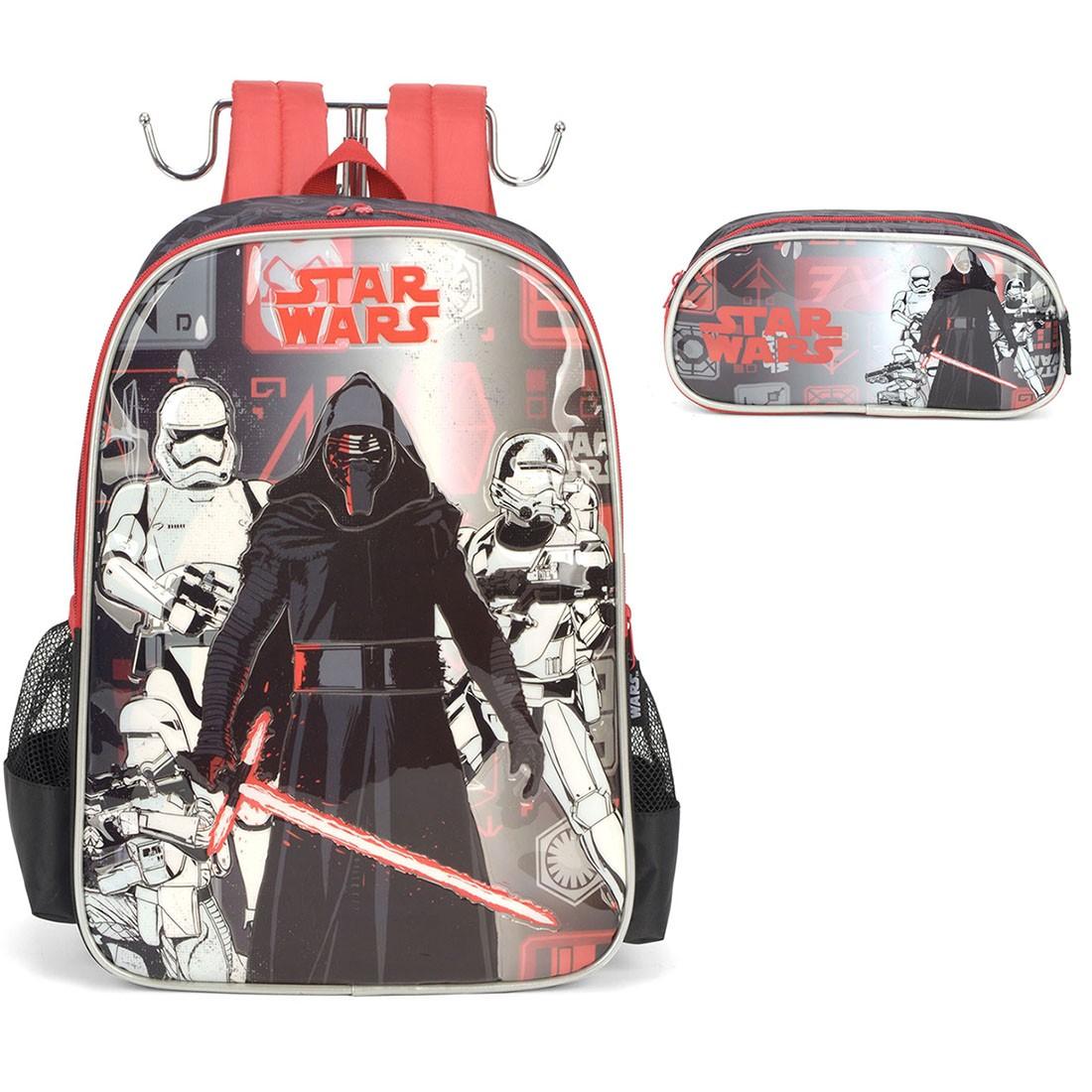 Mochila Infantil Star Wars com Estojo Preto