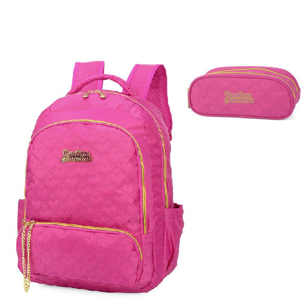 Mochila Para Notebook Penelope Charmosa e Estojo Pink