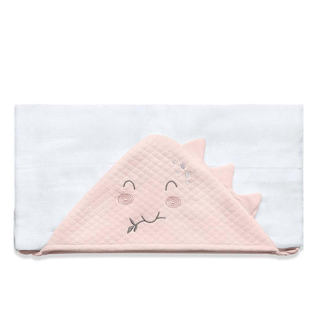Toalha de Banho Infantil Meus Dinos Rosa com Capuz