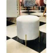 Banqueta Glam Branca - Base dourada