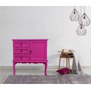 Buffet Colonial- 1 Porta- 3 Gavetas-  Rosa pink