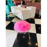 Cadeira Alice - Base Rosé Gold- Pelúcia Rosa Pink