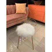 Cadeira LIZ Base Rosé Gold- Pelúcia Branca