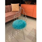 Cadeira  Pétala -  Base Prata- Pelúcia Verde Tiffany