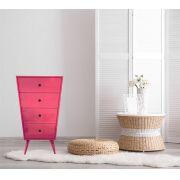 Cômoda- Pé Palito- 4 GV- Rosa Pink