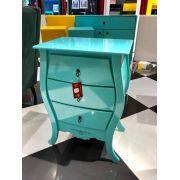 Criado Bombê 3 gavetas azul turquesa