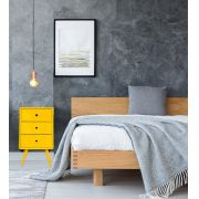 Mesa de Cabeceira Pé Palito 3 gavetas Quadrado Amarelo