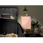 Mesa de Cabeceira  -  Rosé - 3 Gavetas