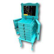 Porta Jóias 6 gavetas azul turquesa