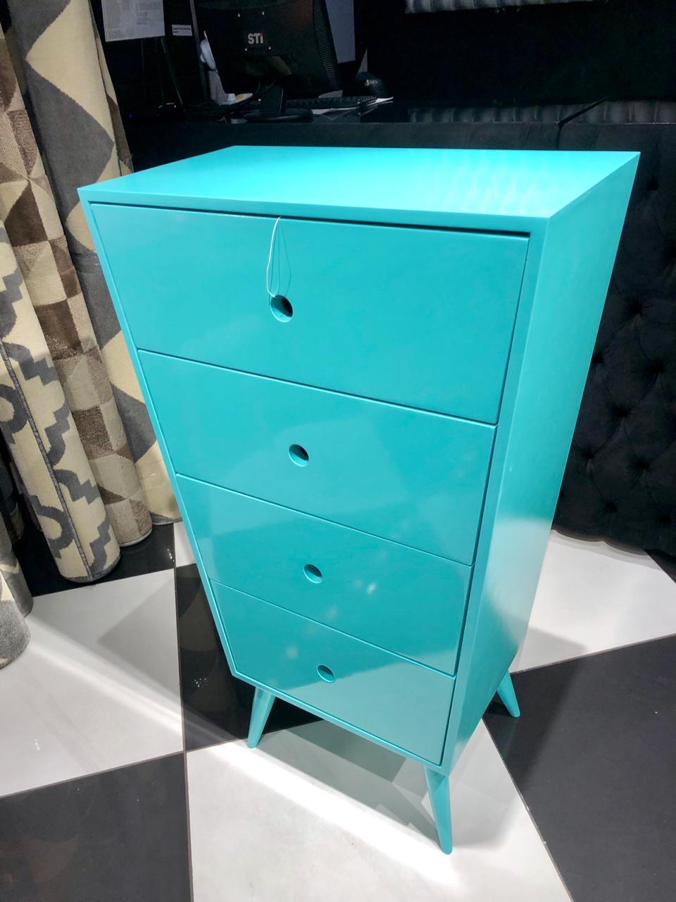 Cômoda- Pé Palito- 4 GV- Azul Turquesa