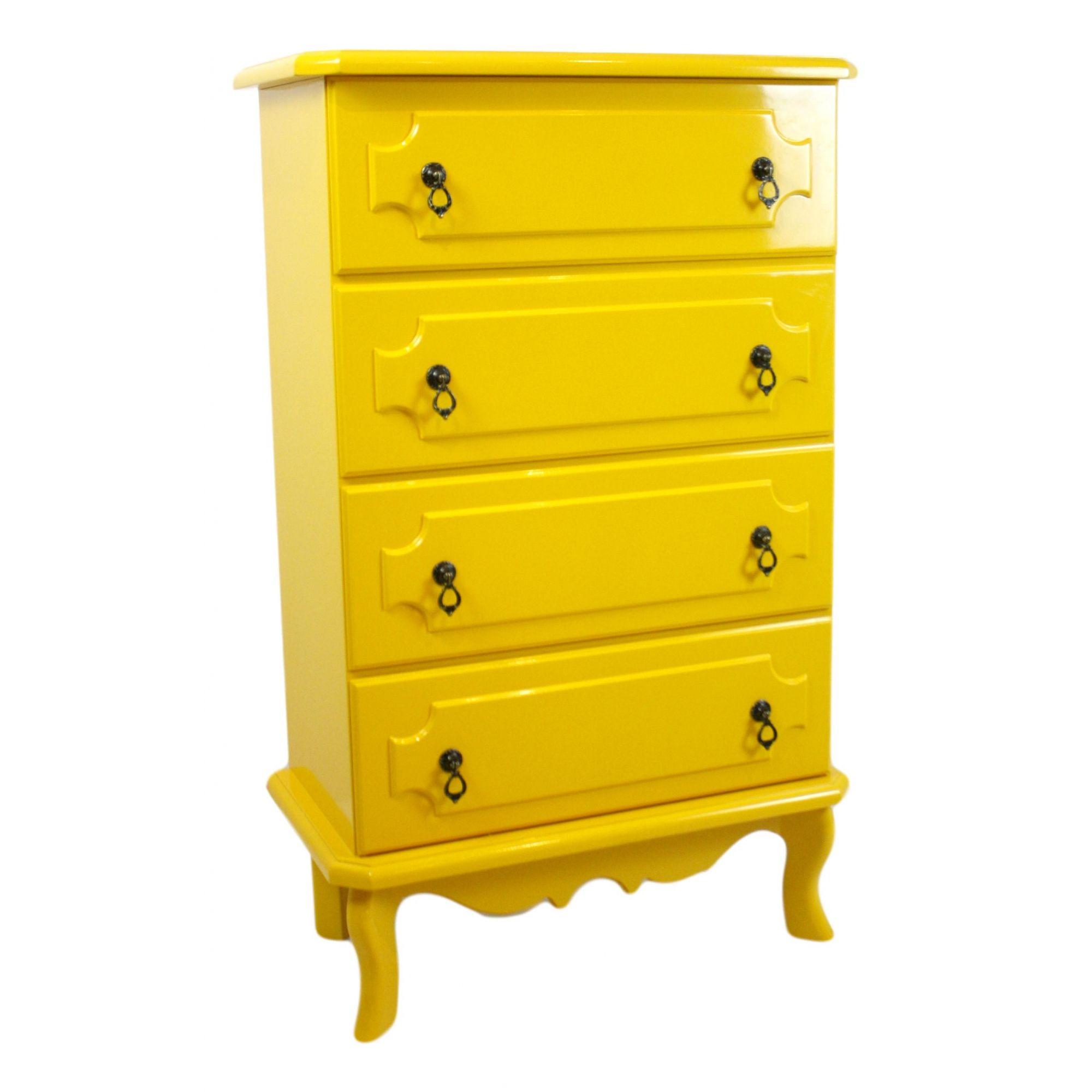 Cômoda Retrô- 4 GV- Amarelo