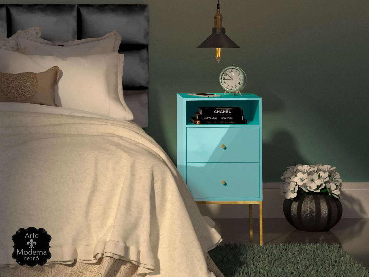 Mesa de Cabeceira Azul Bebe -2 Gavetas