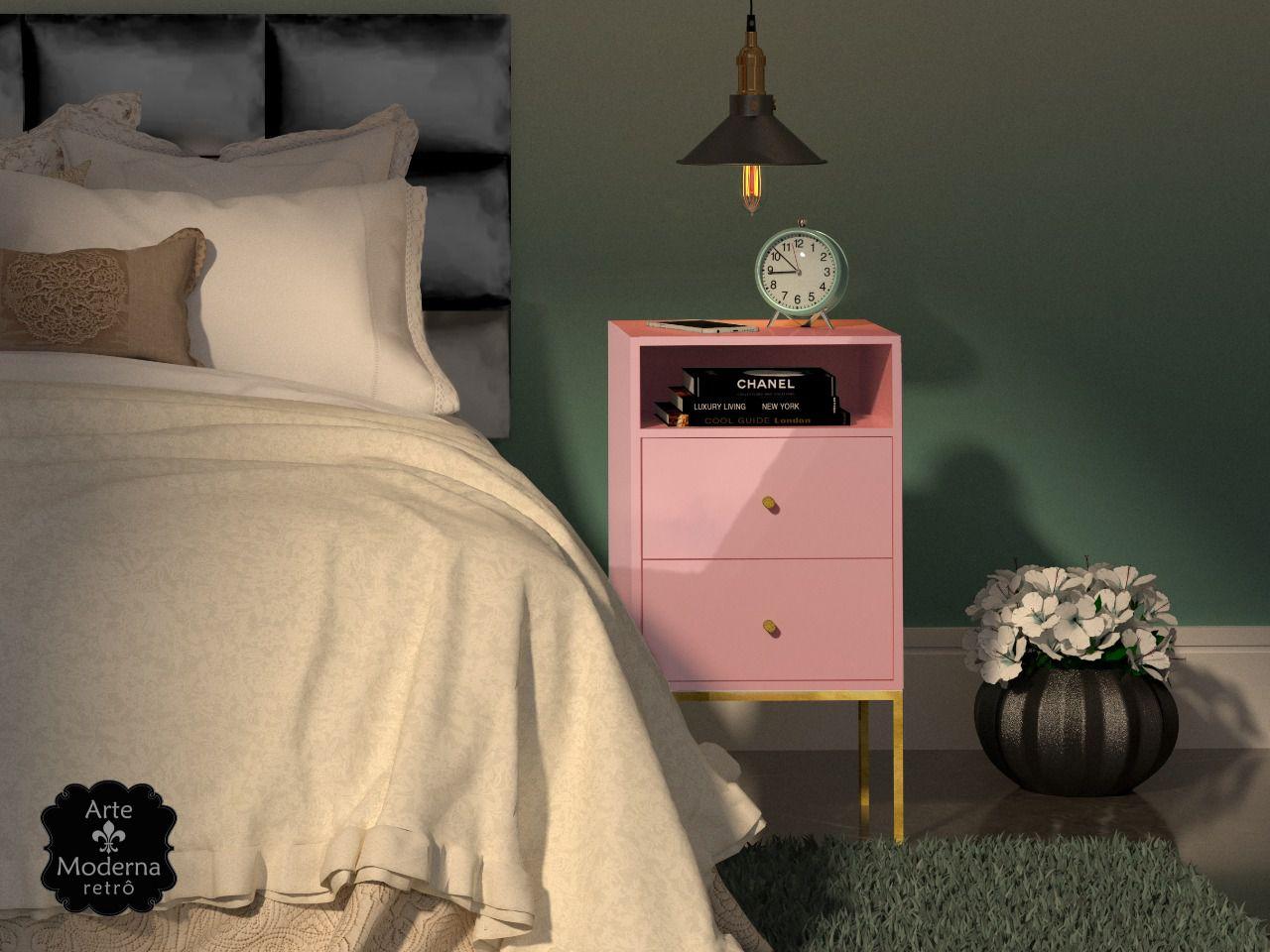 Mesa de Cabeceira - Rosé-2 Gavetas