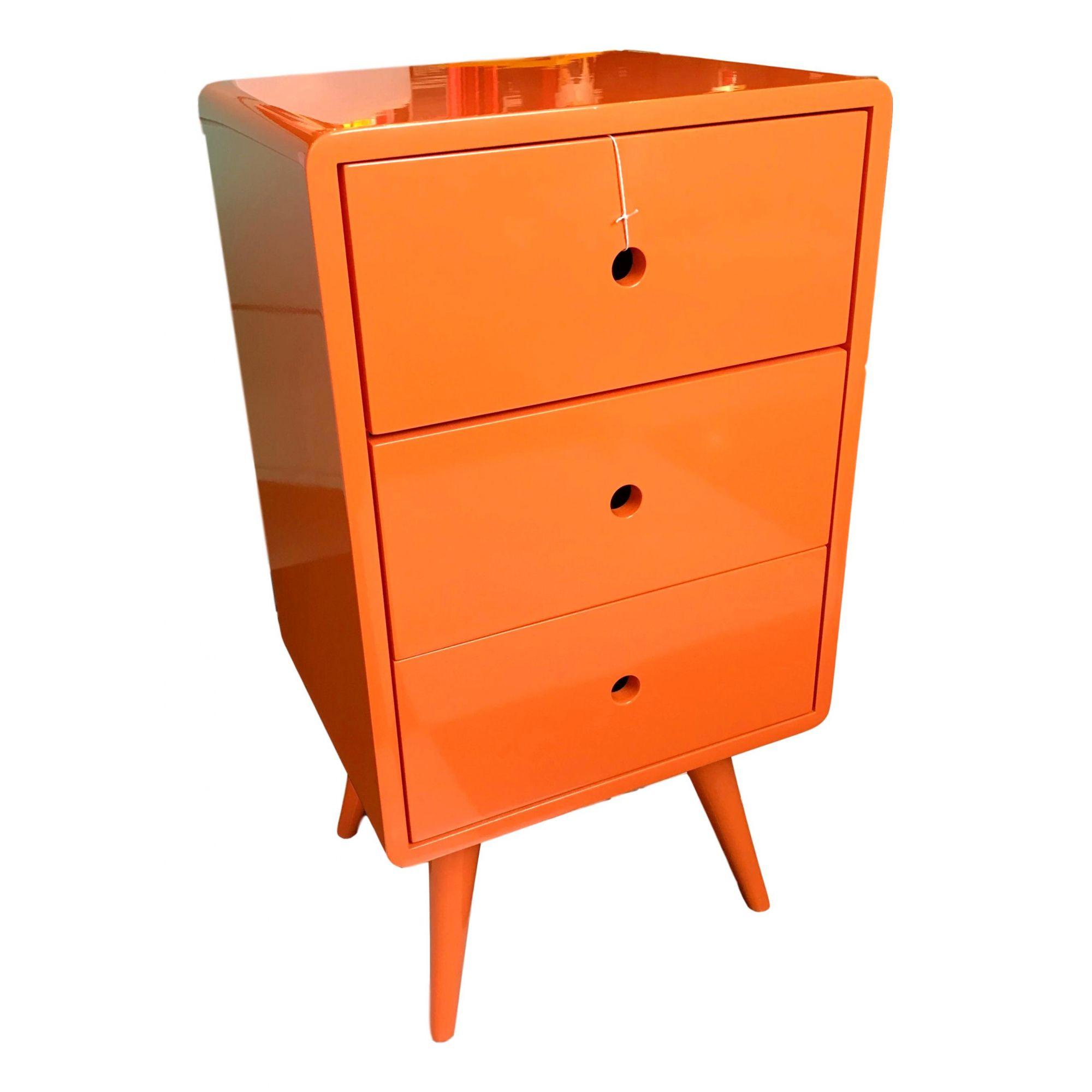 Criado Pé Palito 3 gavetas laranja