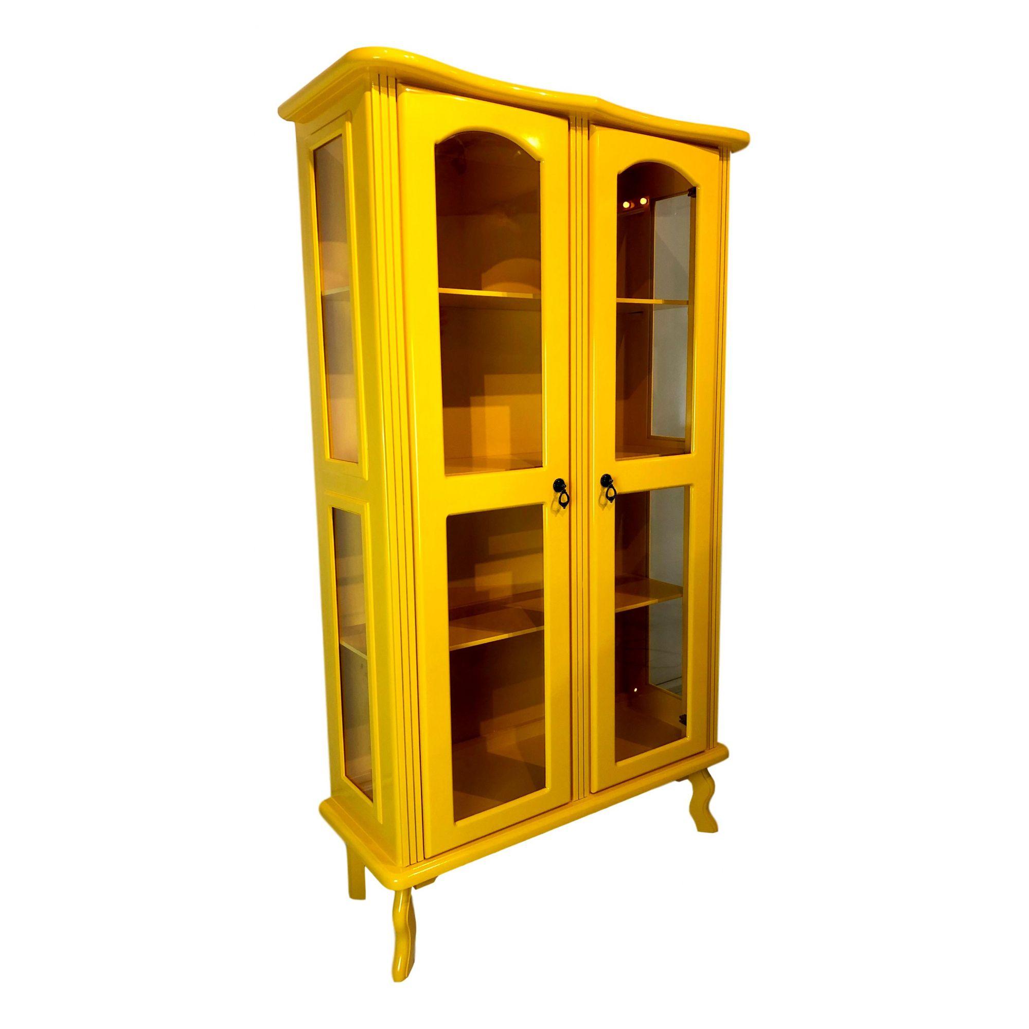 Cristaleira Colonial Amarela 2 portas