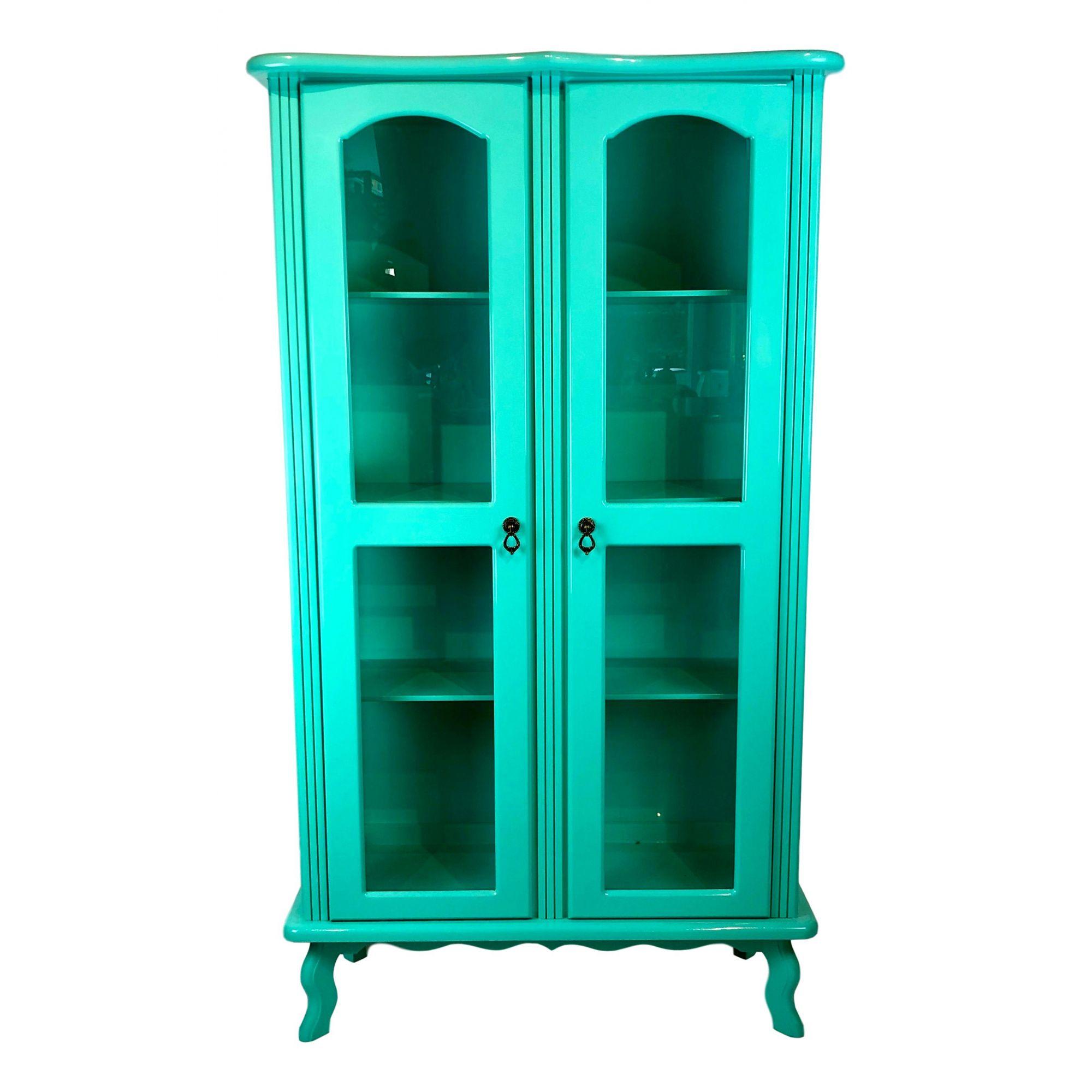 Cristaleira Colonial Azul Turquesa 2 portas