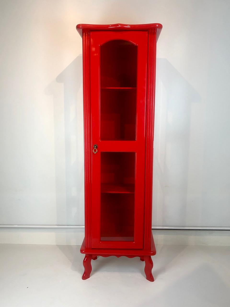 Cristaleira Colonial Vermelha 1 porta