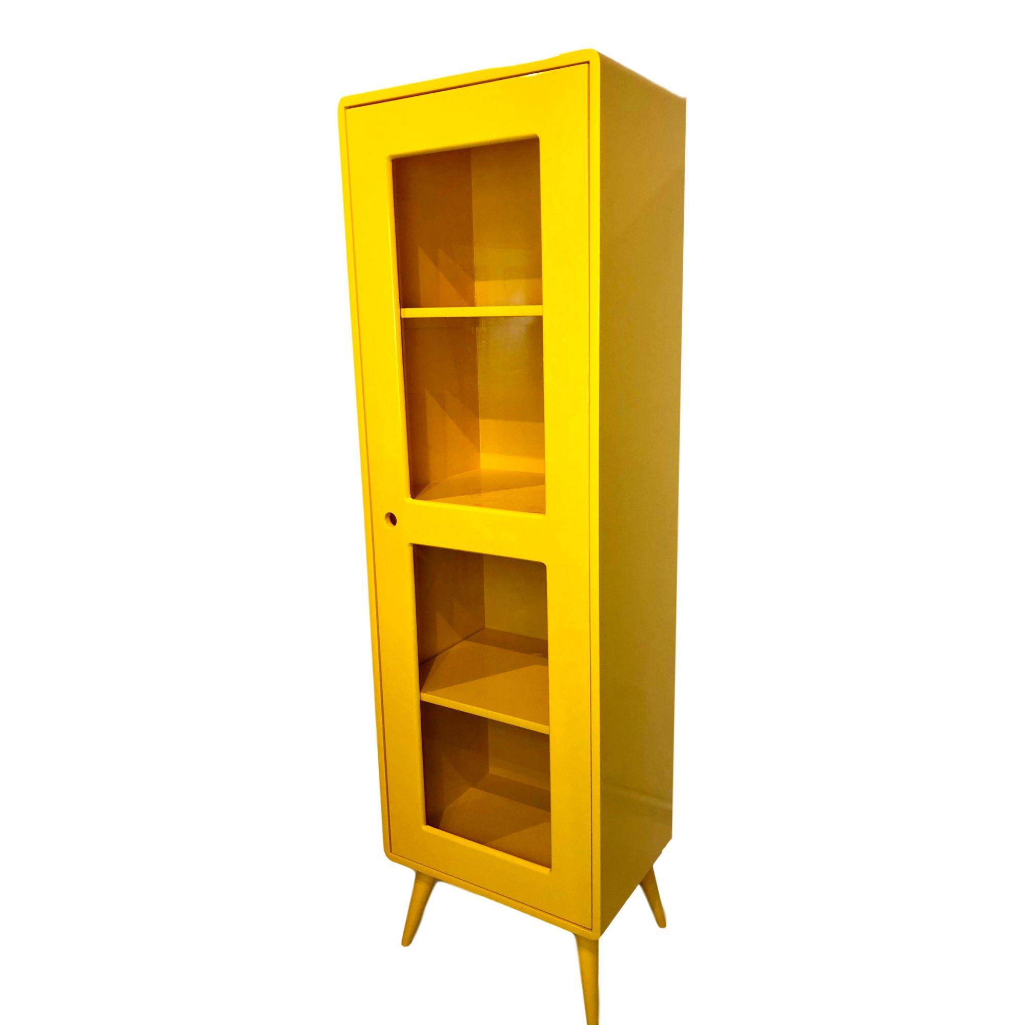 Cristaleira Pé Palito 1 porta Amarelo
