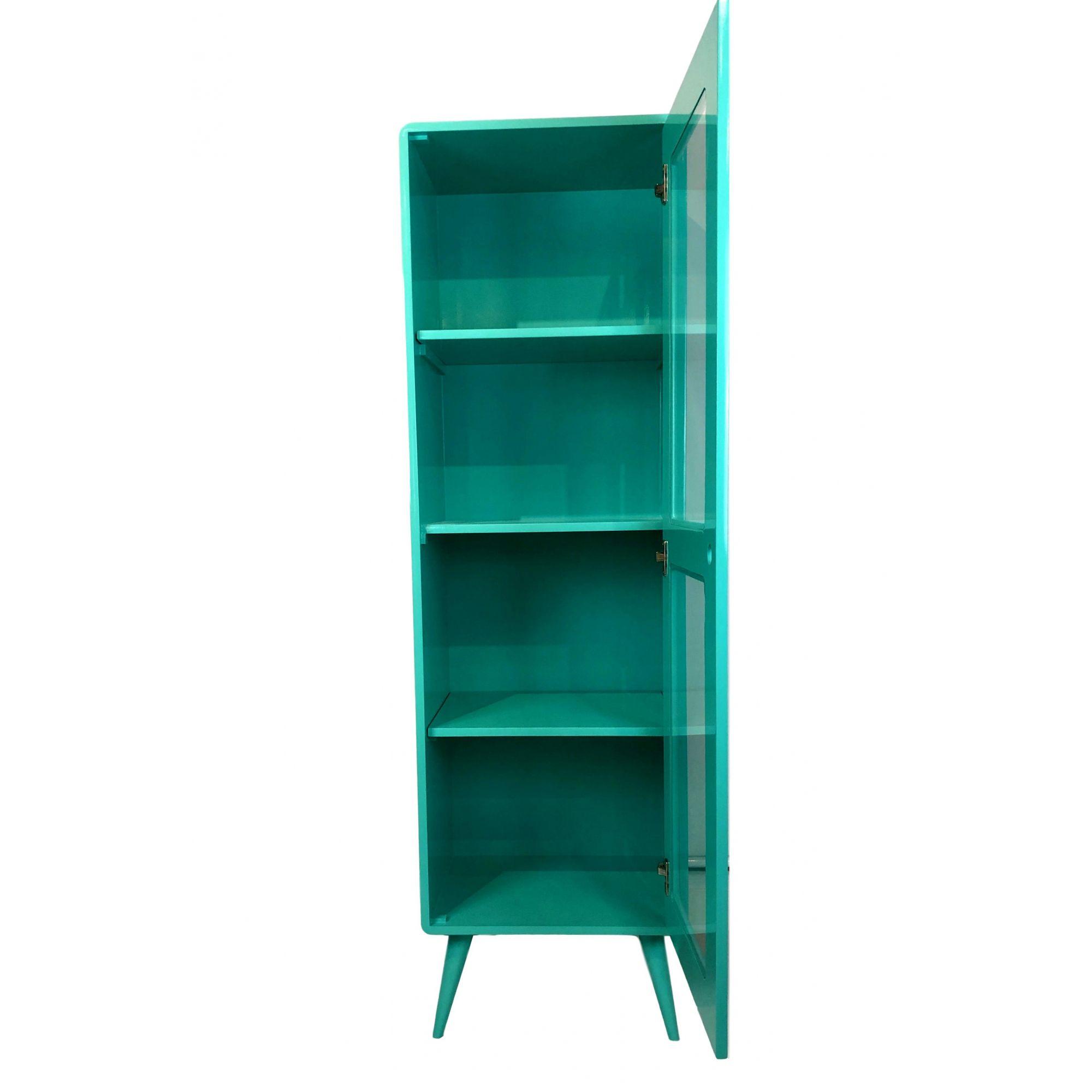 Cristaleira Pé Palito 1 porta Azul Turquesa