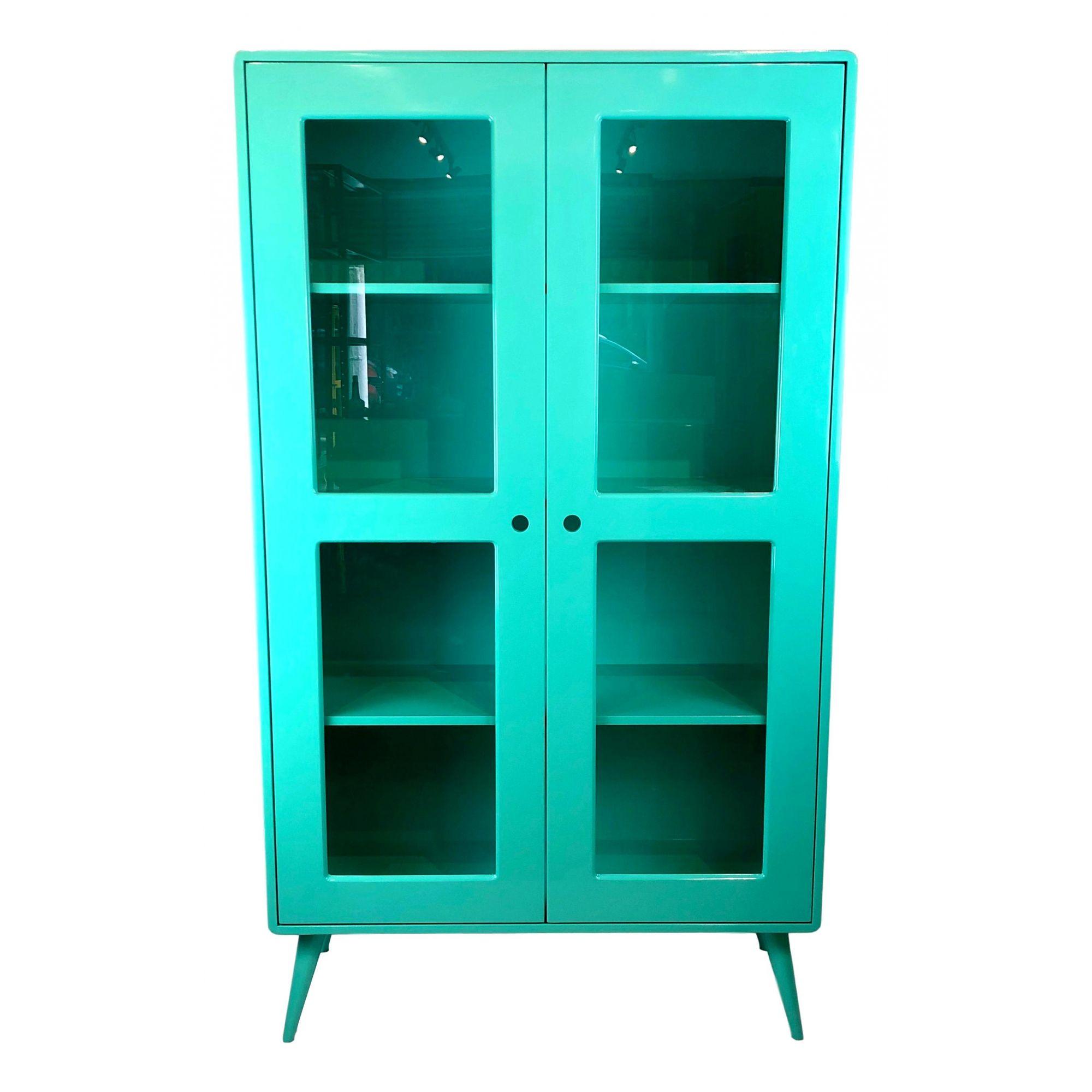 Cristaleira Pé Palito Azul Turquesa 2 portas