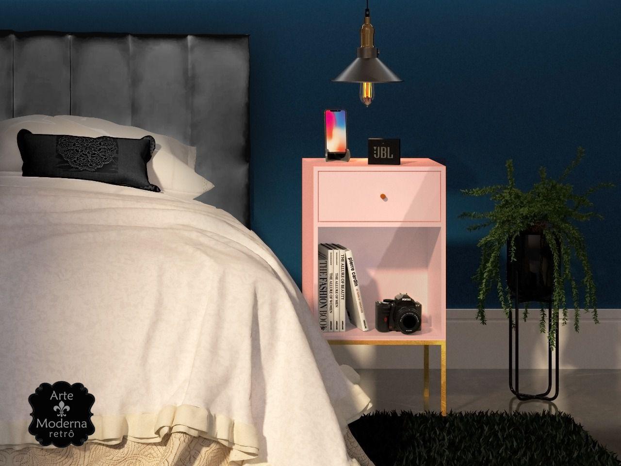 Mesa de Cabeceira - Rosé- 1 Gaveta