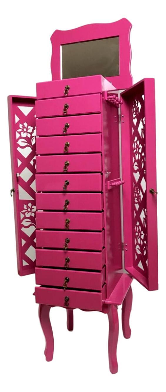 Porta Jóias 12 gavetas pink