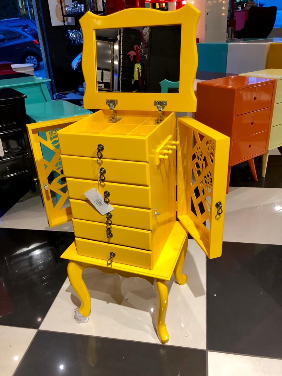 Porta Jóias 6 gavetas amarelo