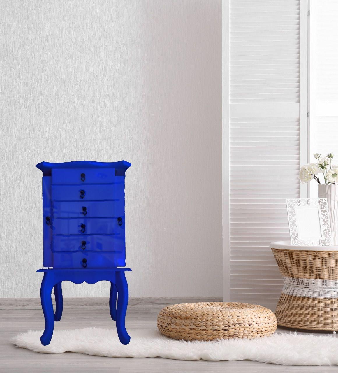Porta Jóias 6 gavetas Azul Bic