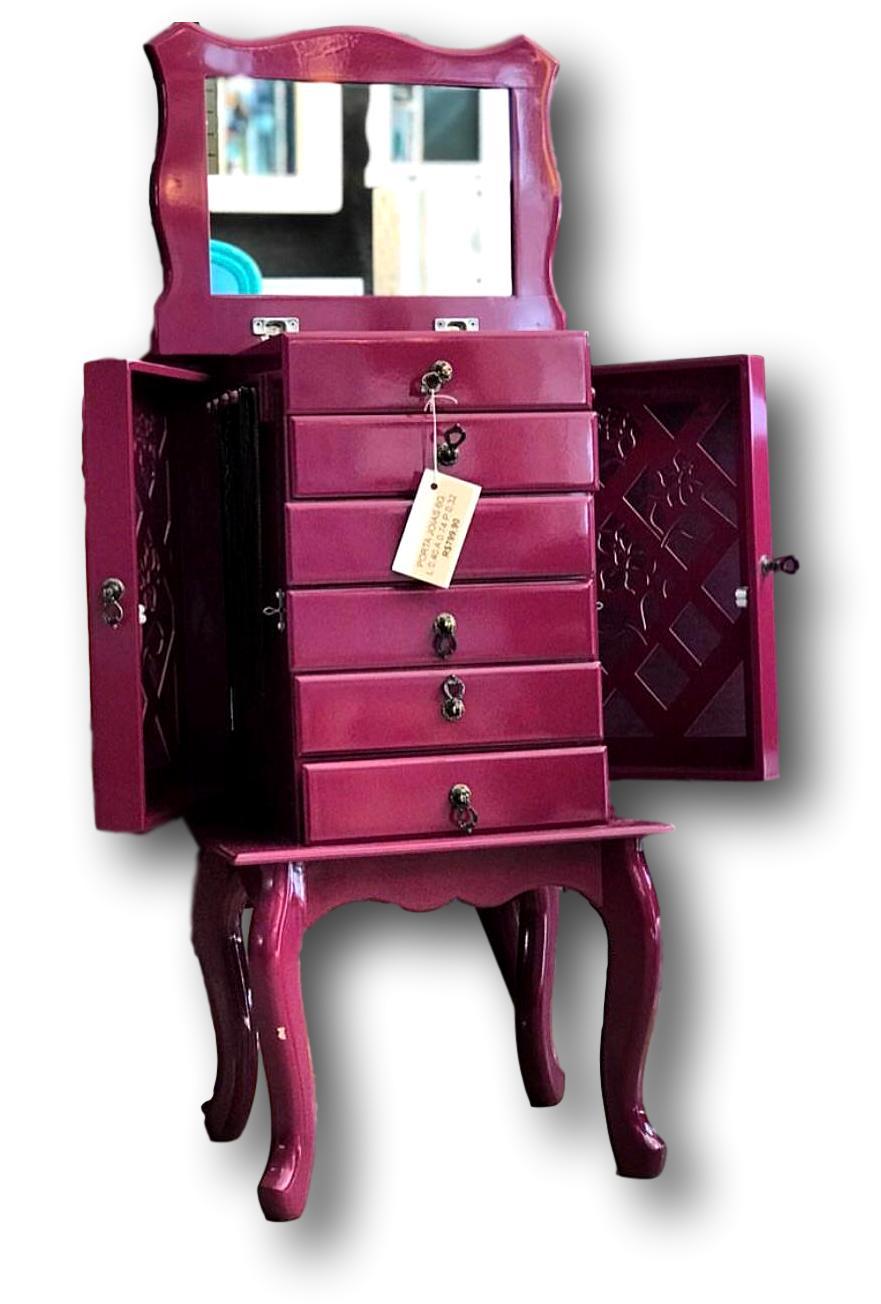 Porta Jóias 6 gavetas roxo