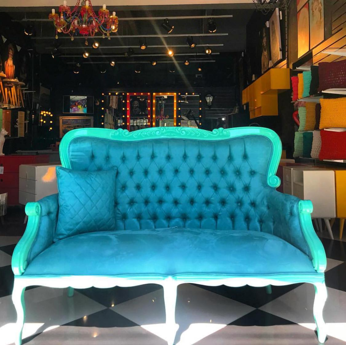 Sofá Cibele azul turquesa