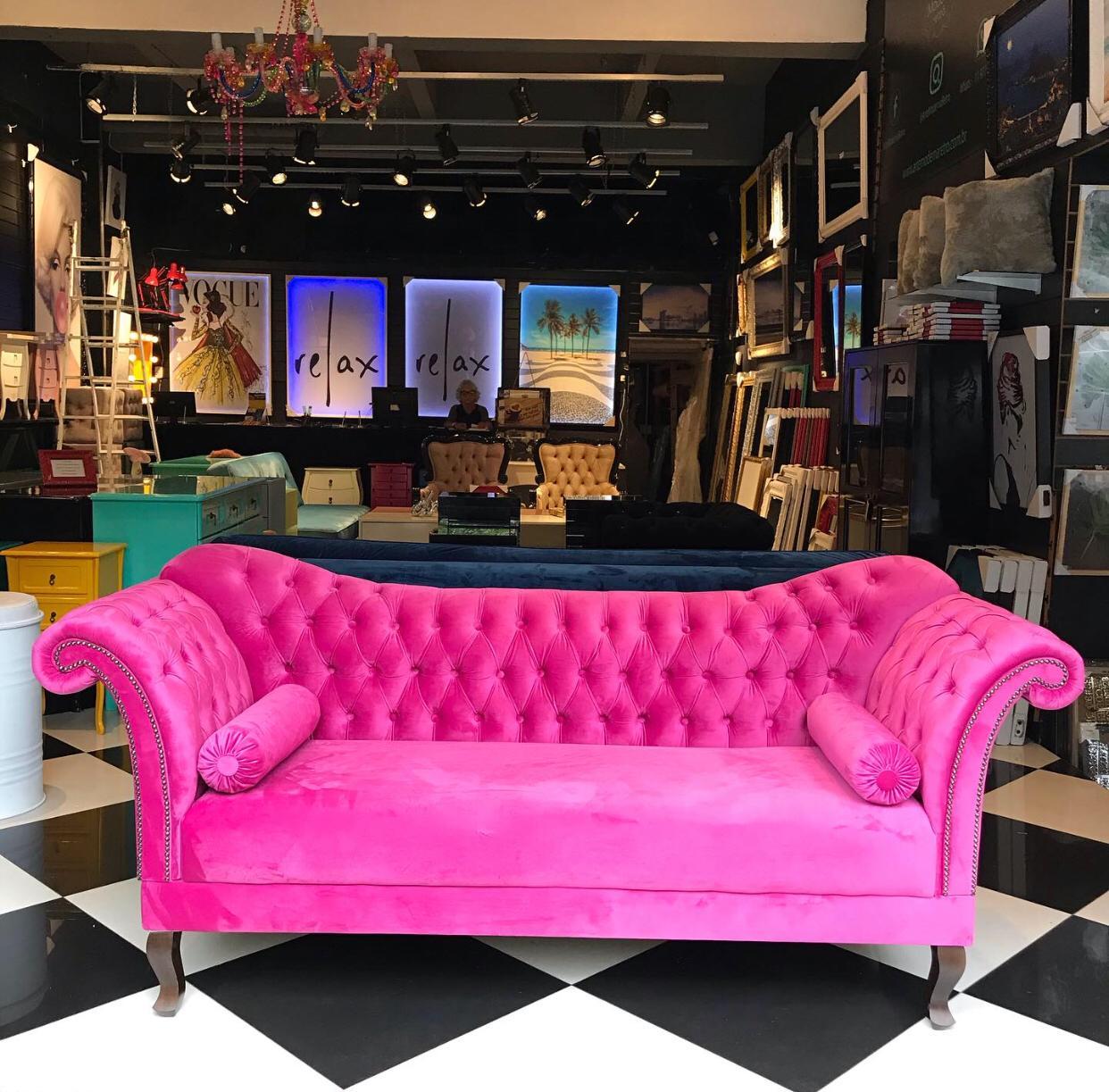 Sofá Divã Plus - Rosa Pink